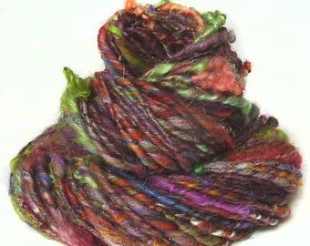 Handspun Art Yarn hand spun BFL wool & handdyed Wensleydale locks, textured sparkly