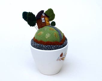 Tiny World Pincushion House on a Hill Mid- Century Tea cup No Saucer