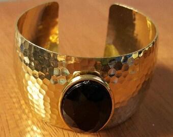 Vintage Hammered Brass Cuff
