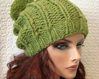 SALE Green Apple Chunky Knit Hat with Pompom, Grass Greenery Beret Tam Beanie
