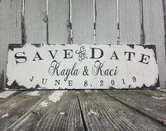 Save The Date Sign | Personalized Sign | Photo Props | Engagement Sign | Rustic Save the Date Sign | I Said Yes | Save the Date Ideas