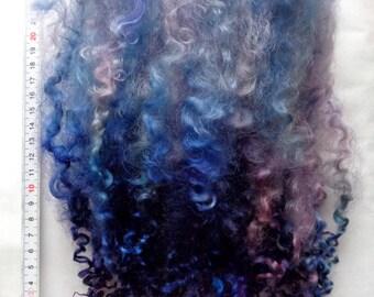 "0.6oz, hand dyed long wensleydale locks, wool locks, long curls, felting wool, dolls hair, blue, purple, 8-10"", 100% wool,18g"