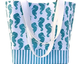 Seahorse tote bag with pockets, Shoulder bag, Summer tote bag, Craft bag, Gift for her, Fabric tote bag, Tote purse,  Fabric purse