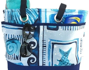 SALE Large beach bag, beach Tote bag, navy blue, market bag, bag with pockets, travel tote, waterproof lining, vacation bag,
