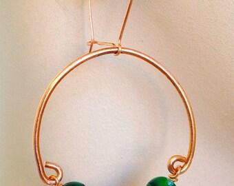 Copper Hoop Earrings, Green hoop earrings handmade jewelry, minimalist jewelry, hoop earrings, Copper earrings, green earrings gift for her