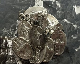 SALE 1pc AGED MEDJUGORJE Medal Vintage Religious Tiny Souvenir