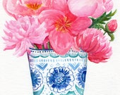 Original Peony watercolor painting  original,  peonies in blue and white vase, peony wall art,  watercolor flowers peonies painting floral