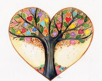 Tree of Life original watercolor painting tree heart art by Lauren Ingraham