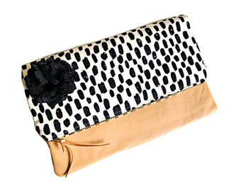 Leather Clutch, Foldover Clutch, Bricka Clutch Bag, Clutch Purse, Black Evening Bag, Leather Clutch Purse