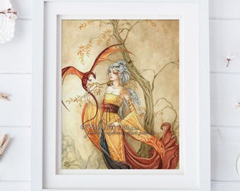 Lady and Dragon, mother of dragons, dragon art, golden elf poster, fantasy print, watercolor illustration