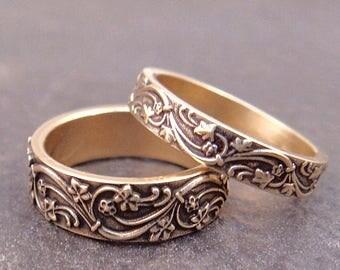 Gold Wedding Band Womens Wedding Band Set Mens Wedding Ring Set Mens Wedding Band Womens Wedding Ring Gold Wedding Ring Set Art Deco Ivy