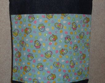 New Small Handmade Easter Egg Glittery Basket Denim Tote Bag