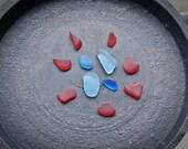 RED, Aquamarine, Cobalt BLUE Genuine Flawless Sea-Tumbled Sea Glass Jewelry Grade Loose (11)