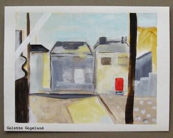 Cityscape, landscape, The Red Door, acrylic on canvas paper, fine art