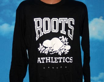 Roots Athletics Canada Original Black Russell Athletic Long Sleeve Tshirt Vintage 1980s
