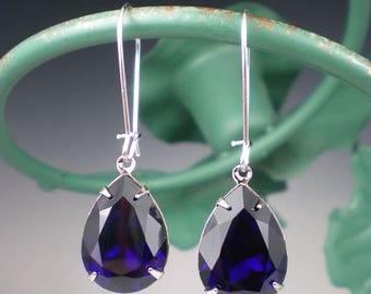 SUMMER SALE Rhinestone Earrings Indigo Swarovski Dangle Earrings Violet Blue Wedding Jewelry Bridesmaid Jewelry