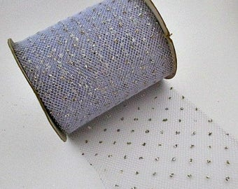 """Tulle Net Ribbon Vintage Supply - Periwinkle with Silver Glitter Polka Dots - 1.00 a yard 5"""" Wide 8 Yards Available"""