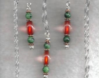 ON SALE Ruby in Zoisite & Glass Jewelry Set