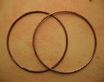 """Chestnut Brown Notched Copper Hoop Findings - 2.5"""" in length - 14g"""