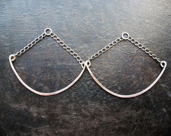 """Antiqued Sterling Silver Chain and Crescent Bar Hoop Findings - 2"""" in length - 1 Pair"""