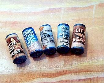 Beach Sayings Beads -  Handmade Paper Tube Beads - - Set/5 -  PB109