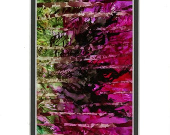 painting florals on yupo paper matted with a double mat, abstract, contemporary art