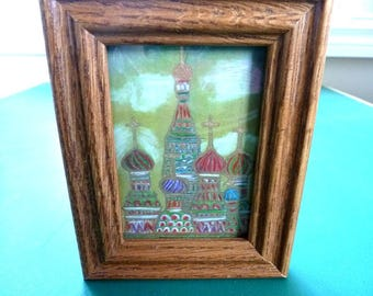Miniature Painted St. Basil's Cathedral on Red Square Moscow in Oak Frame
