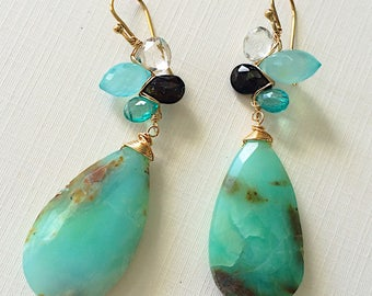 Bora Bora Woven Earrings with Peruvian opal, Apatite, Black Tourmaline, and Chalcedony