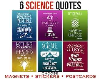 6 Science Quotes by Women in Science, Carl Sagan, Faraday. Inspirational Vinyl Stickers, Magnets or Postcards. Inspire Learning Lettered Art