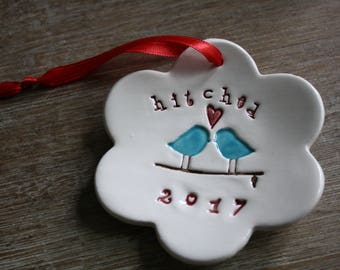 Ceramic Our First Christmas Ornament Love Birds Hitched