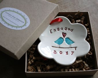 Christmas Ornament Handmade Ceramic Christmas Ornament Engagement Gift Engaged 2016 Love Birds Christmas Ornament Keepsake