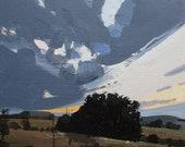 Stand de chickabiddy, Original printemps paysage peinture coucher de soleil sur le panneau, Stooshinoff