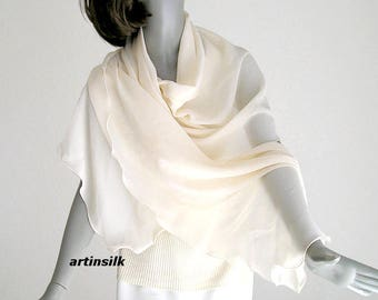 Beige Ivory Shawl Wrap Coverup Sheer Pure Silk Chiffon, Vanilla Off White Formal Special Occasion, Unique Hand Dyed, M L Plus X, Artinsilk