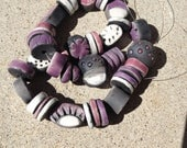 Perles en Raku, four terre cuite, violet, blanc, foncé primitif perles roses