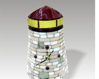 Lighthouse Desk Mantel Clock in Fused Glass