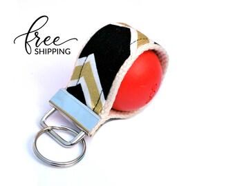 LippyLoop™ EOS Holder Keychain, Black Gold Diagonal Stripe  | Free Shipping