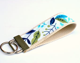 Keychain Wristlet with Designer Fabric, White with Blue and Lime Floral