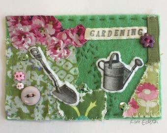 Gardening Mini Textile Collage Artwork