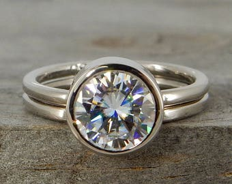 Moissanite Engagement Ring & Wedding Band - Forever One G-H-I - Recycled 18k Palladium White Gold - Ethical, Conflict-Free, Made in the USA