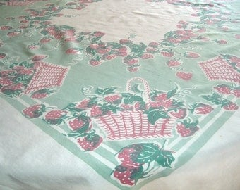 Vintage Tablecloth Baskets of Strawberries 45 x 50 inches