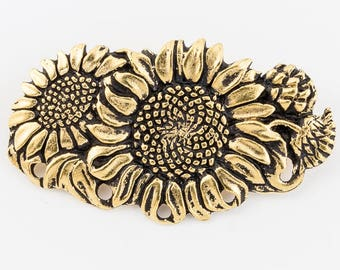 23mm x 40mm Antique Gold Sunflower Pin #CHA066