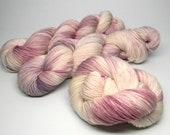 Email & Merlot on Tap Monkey superwash merino nylon blend fingering weight hand painted sock yarn burgundy lilac lavender pink cream white