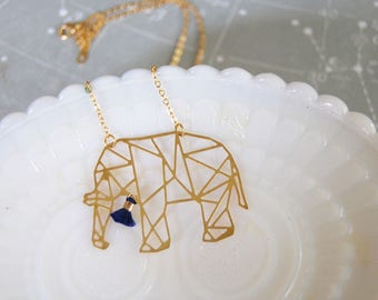 geometric raw brass laser cut Elephant necklace- modern jungle- tassel detail- laser cut animal
