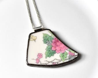 Broken China Jewelry Pendant - Pink Flower Butterfly