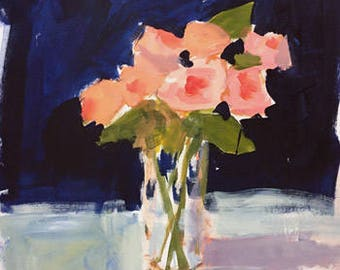coral roses painting flower painting navy blue and pink original painting pamela munger