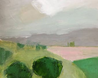 abstract landscape painting original painting green  painting on wood organic nature painting pink and green art pamela munger