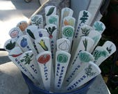 Special Order, Reserved for RoxyDozier717, 13 Ceramic Garden Markers, Individually Hand Painted Vegetables and Herbs, Ready to Ship
