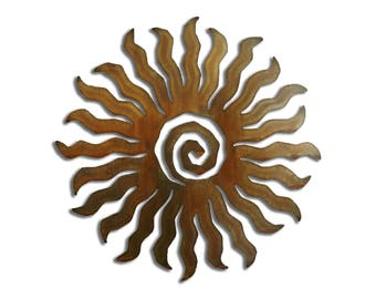 Sun Burst Spiral Metal Wall Art 24 Point- Brown Rust Finish
