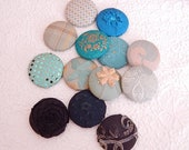 CLEARANCE - 13 blue aqua buttons, size 75
