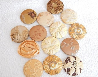 CLEARANCE - 14 gold beige fabric covered buttons, size 75